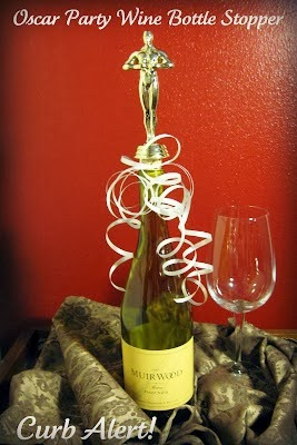 Oscar Party Wine Bottle Stoppers {Repurposed Trophies}