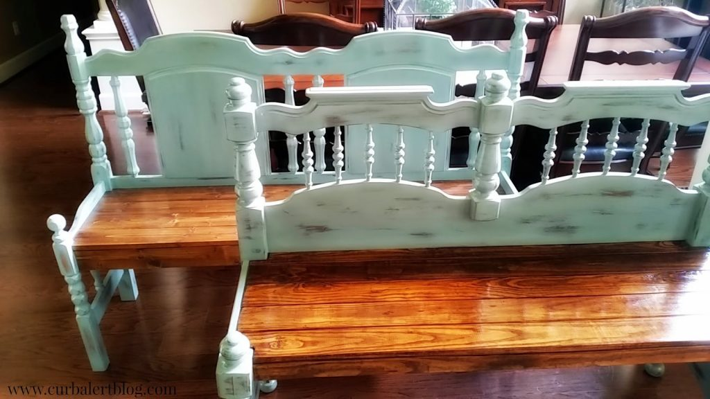 Blue Headboard Benches