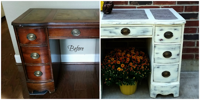 Antique White Desk Makeover