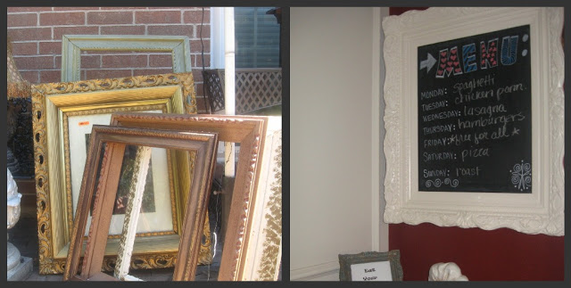 Resale Shop Gold Frame repurposed into Kitchen Chalkboard