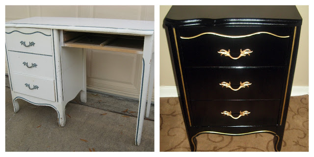 Curbside Desk transformed into Endtable/Nightstand