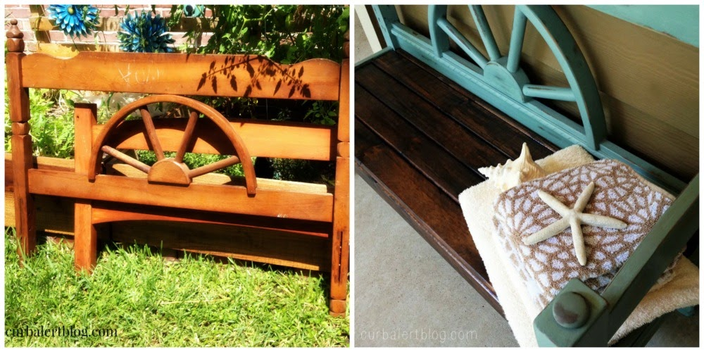 Beachy~Nautical Headboard Bench