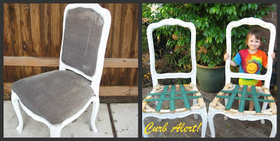 Pair of White Chippy Paint Chairs