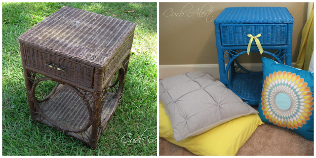 Blue Wicker End Table