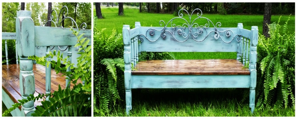 Duck Egg Blue Bench with Iron Scroll