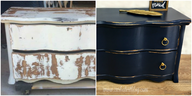 Navy Blue Serpentine Dresser