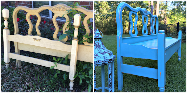 Turquoise Blue Headboard Bench