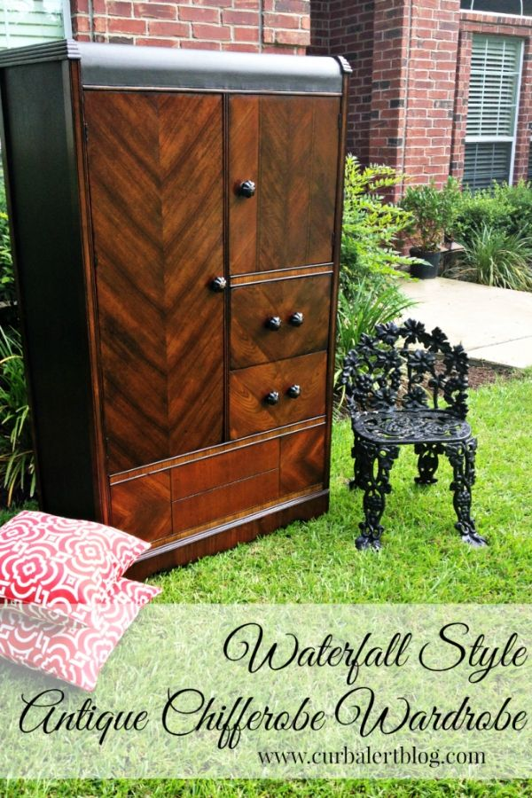 Antique Wardrobe Waterfall Style Chifferobe Armoire