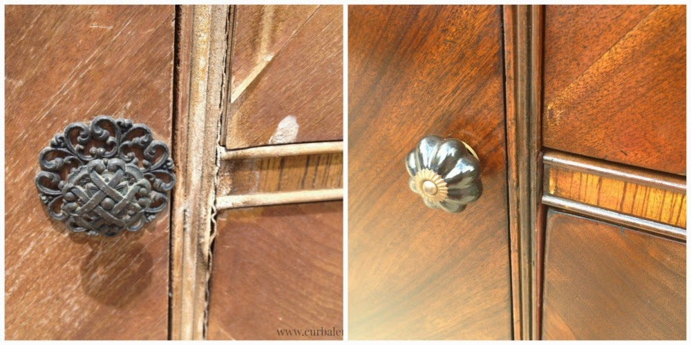 Look at a knob before and after the refinishing