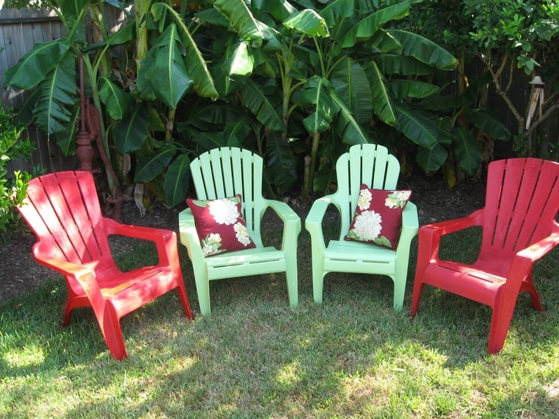 Brightly colored plastic chairs