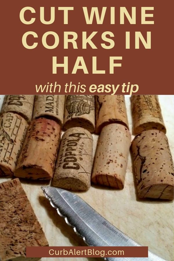 Easy way to cut wine corks in half for crafts #winecorks #crafts #craftingtips #tipsforcrafters #craftingsecrets
