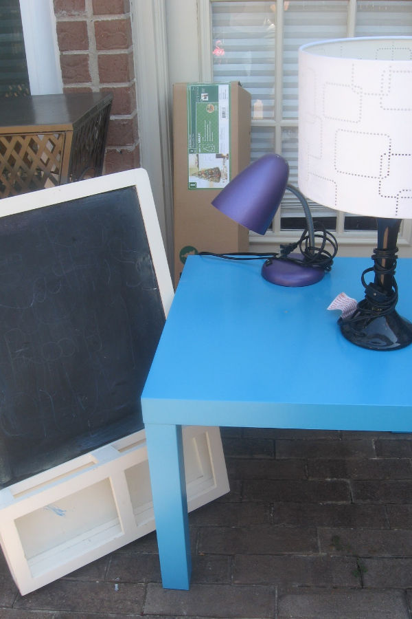 IKEA chalkboard and blue table