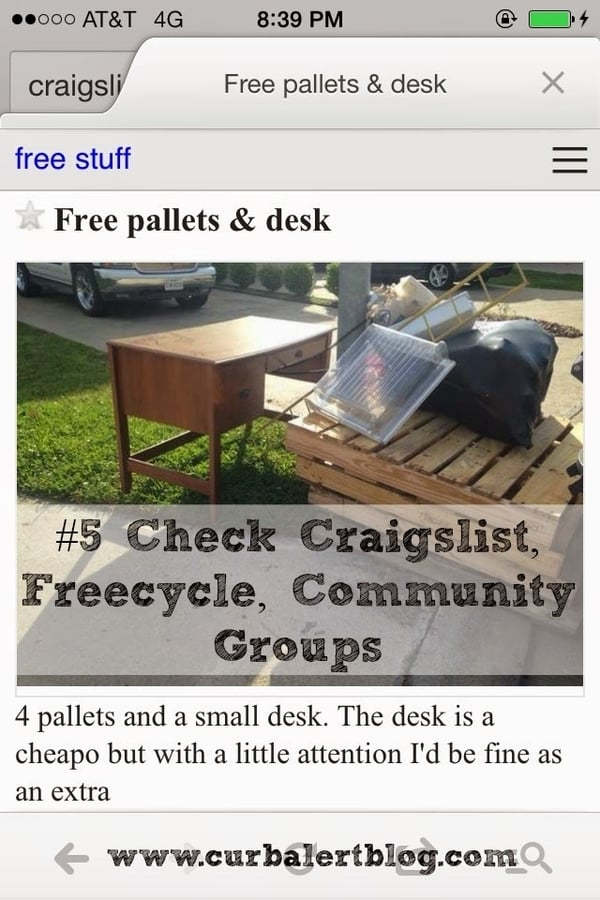 Pallet listing on Craigslist