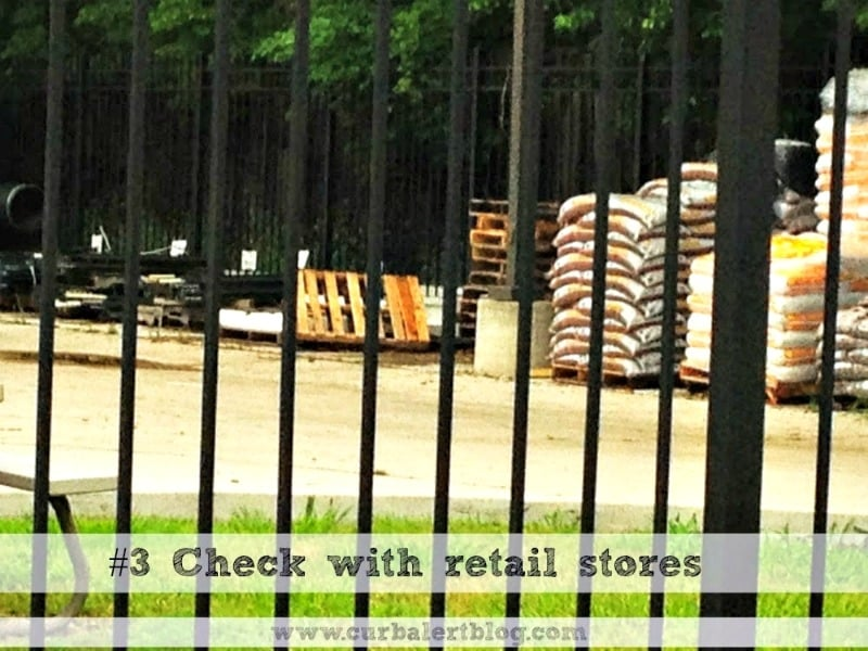 Retail stores are a good place to find free pallets