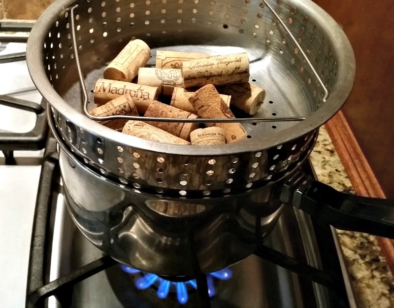 Wine corks steaming on the stove