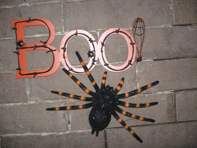Spider and boo word decoration