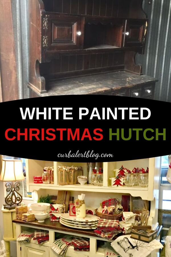 You won't believe this transformation! Take a look at my Christmas hutch before and after, and see the steps I took to transform an ugly piece of furniture into a gorgeous piece to treasure for many years. #Christmas #paintedfurniture #recycled #repurposed #whitefurniture
