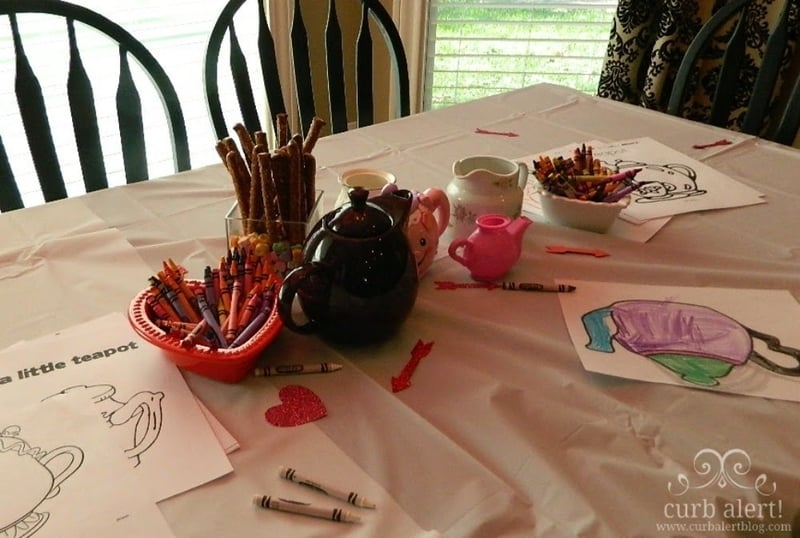 Coloring time for girls during the tea party