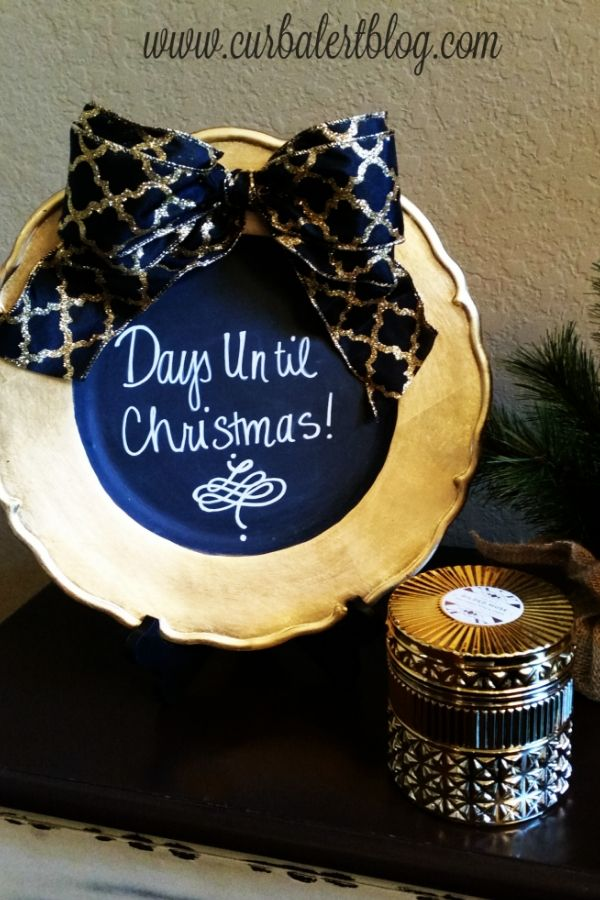 Gold and blue xmas count down plate