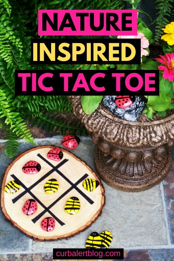 This nature inspired tic tac toe will give your chiodren hours of fun playing. #garden #rockcreatures #rockpainting #tictactoe #naturecraft #crafts #outdoorcrafts