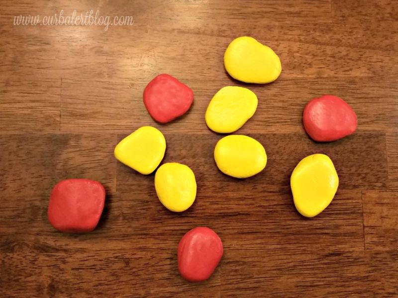 Rocks painted red and yellow