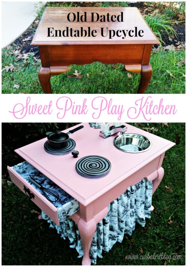 Take a look at the before and after of this pink play kitchen. Started out wiht an uplcycled end table and ended up with a GORGEOUS pink kitchen fit for a littel princess! #furnitureupcycle #recycle #upcycle #kidskitchen #playkitchen #curbalert