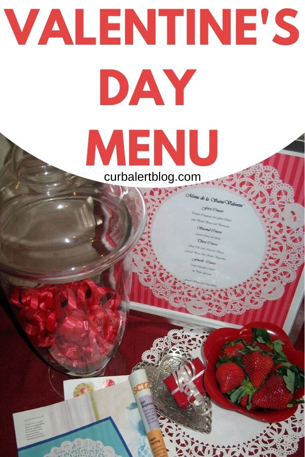 This cute Valentine's day menu made from an old frame and a doily will set the mood on this special day. So easy to make, even the kids can help! #valentinesday #doily #valentinesdaydecor #valentinesdaydinner