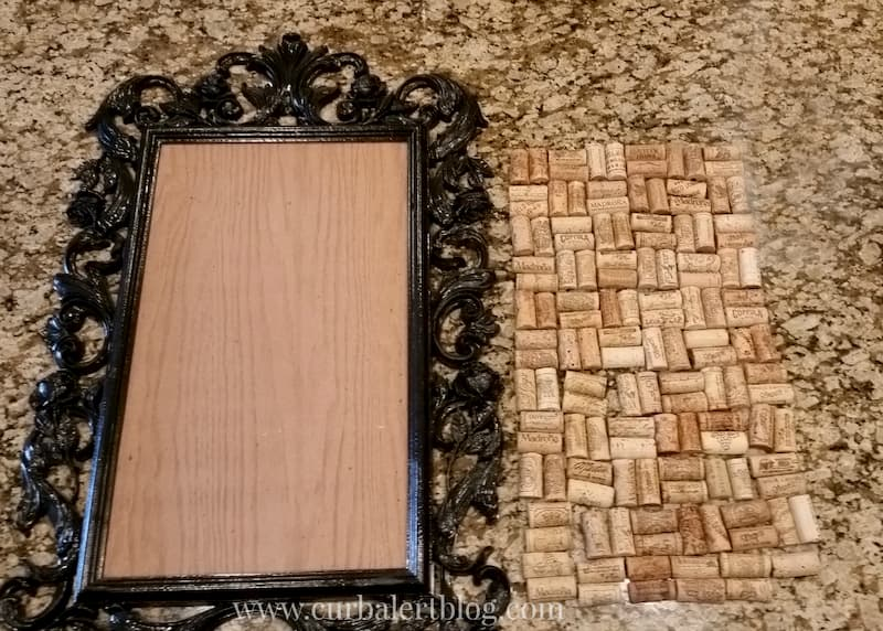 The back of the mirror, where I glued the corks