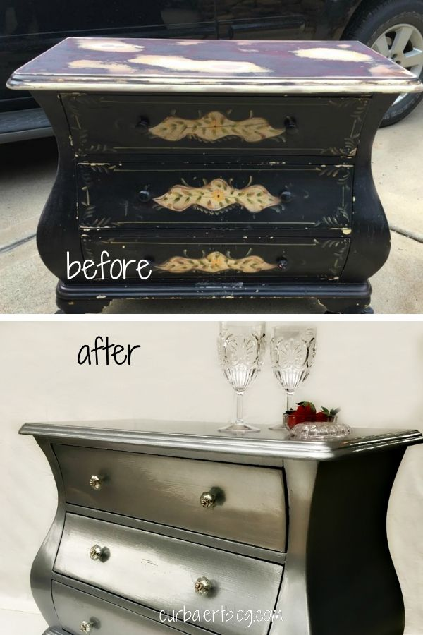 Bombay dresser makeover in silver: see all the steps I took to turn a beast of a dresser into this gorgeous shimmery beauty. #dressermakeover #furnituremakeover #silverpaint #metallicsilver #metallicsilverfurniture