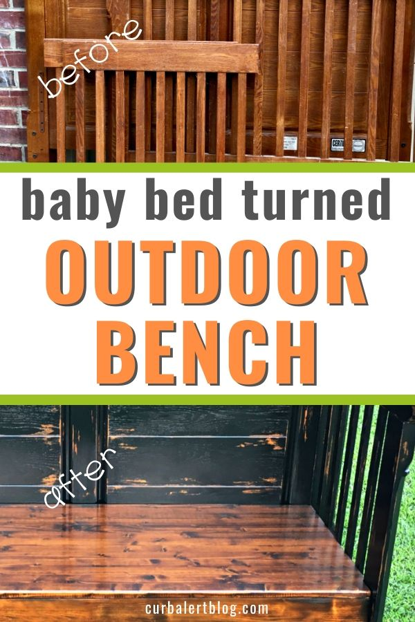 Check out my repurposed baby bed, turned into a gorgeous outdoor bench. You can do the same with your children's beds, and enjoy them for years to come. #babybed #repurposedbabybed #recycled #upcycled #furnituremakeover