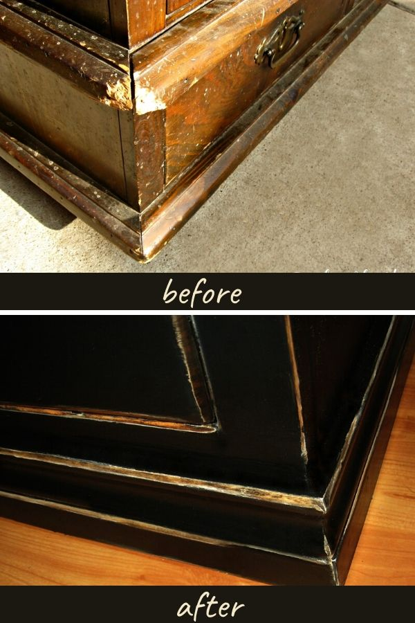 Corner of dresser before and after the update