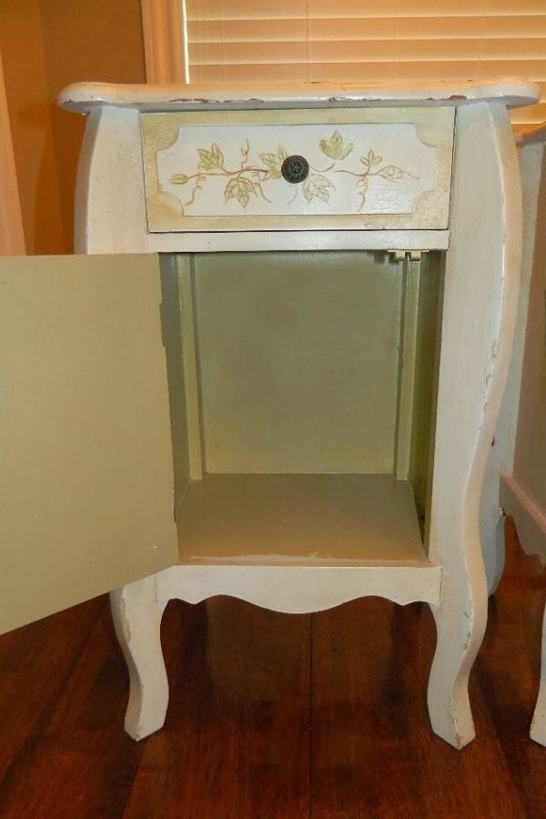 End table opened up for cleaning