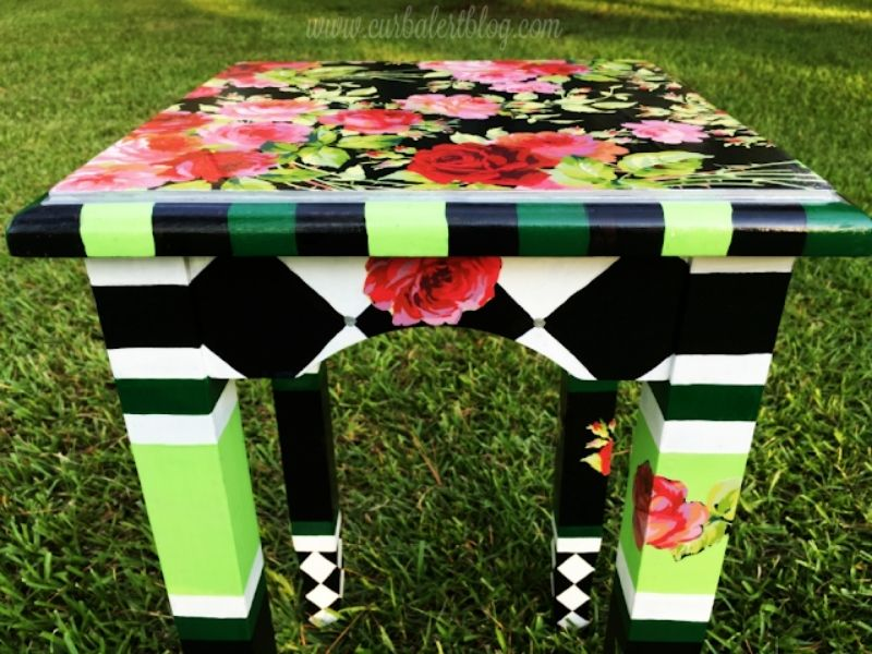 finished MacKenzie Childs inspired accent table