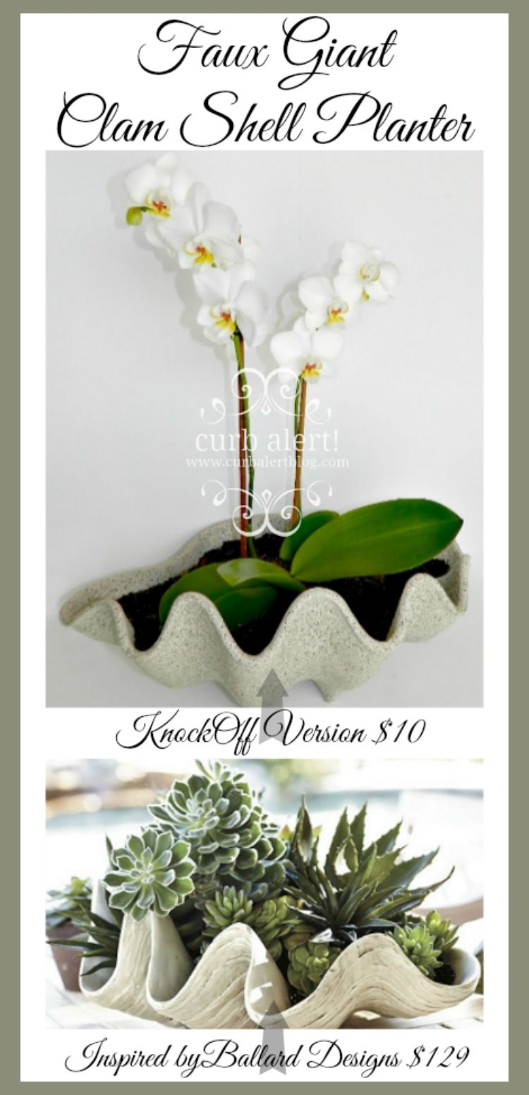 knockoff faux clam shell planter