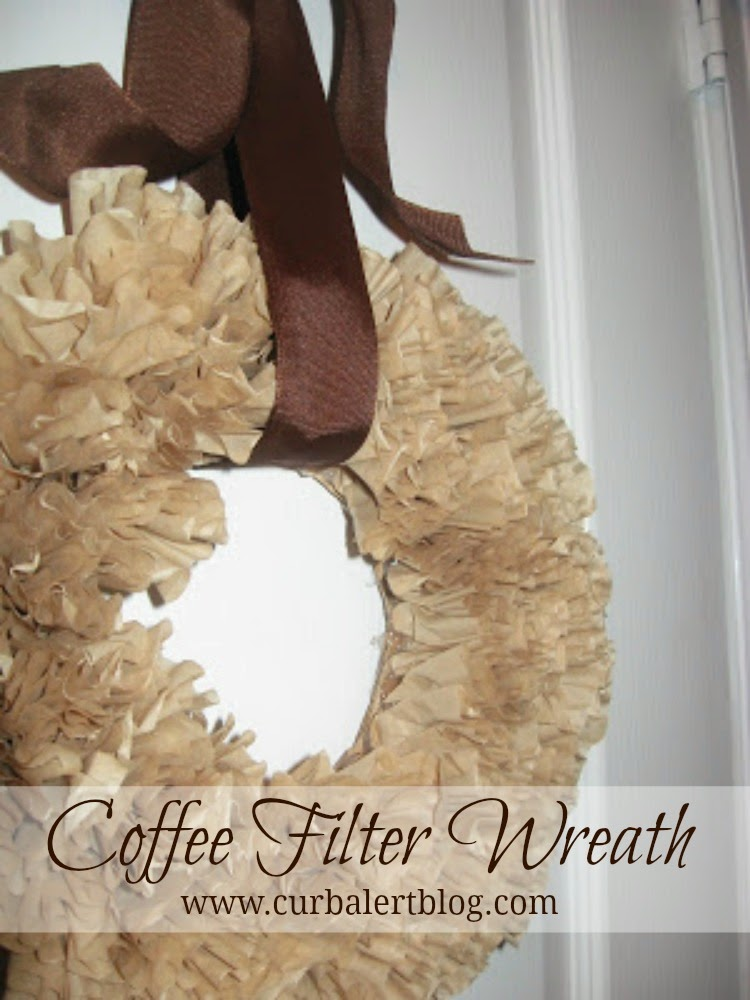 Tan colored coffee filter wreatch